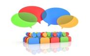 Exchange of opinions. Gossip. 3d illustration